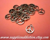 SALE!!! 24 X Charm-Pendant - Peace Sign -Hippiie - Alloy -Silver Tone -12 Pairs- Supplies-Findings - Earring Components - Wholesale