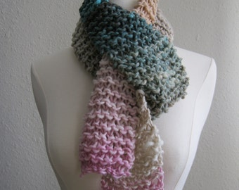 CLEARANCE SALE - Knitted Scarf Neckwarmer Wool Scarf Garter Stitch Scarf Back to School - Ready to Ship