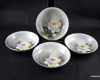 Noritake Rose Pattern Berry Bowls or Dessert Bowls / Fruit Bowls - Vintage 1920s 1930s Noritake China (set of 4)
