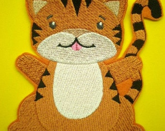 Large Embroidered Iron On  Applique Patch, Tiger, Cat, Childrens Applique, Clothing and Home Decor