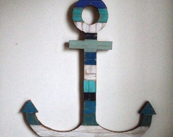 Beach House Decor - Large Wood Anchor