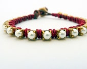 Ready to Ship / Pearl friendship bracelet / brown / red cardinal cranberry / brass / Patriotic