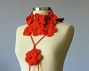Crochet lariat scarf - handmade crochet flower neckwarmer autumn fall fashion women scarves, christmas gifts, Valentine's day gift idea