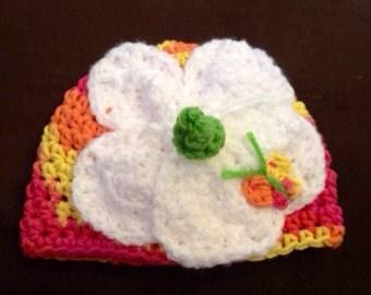 Hawaiian Hibiscus flower crochet hat