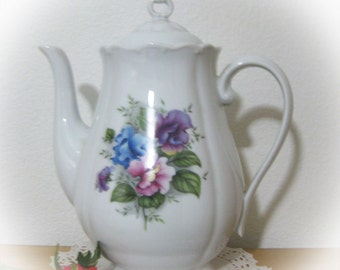Antique-Vintage Haas & Czjek Porcelain Floral Teapot-Made In Czech Republic