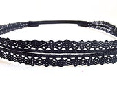 Black Lace Headband, Stretchy Headband, Double Strand Headband