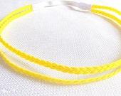 Bright Yellow Headband, Double Strand Headband, Stretchy Yellow Headband