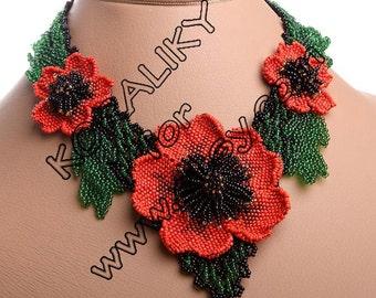 NECKLACE, BRACELET, EARRINGS. Beaded Blooming Large Flower 3D Poppy Red Handmade