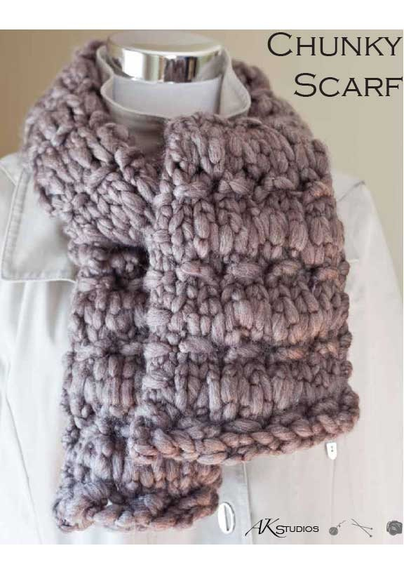 Chunky Scarf Knitting Pattern For Beginners : Knit PATTERN Thick and chunky scarf