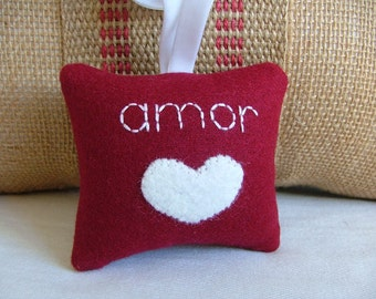 "Red Valentine's Day Spanish Inspired ""amor"" Decoration with White Heart and Ribbon"