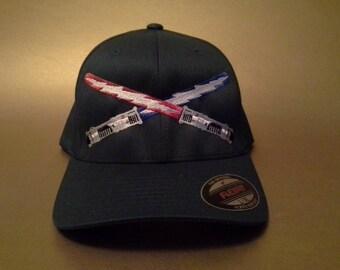 Dueling Boltsabers Flexfit Hat curved brim made to order Star Wars/ Grateful Dead