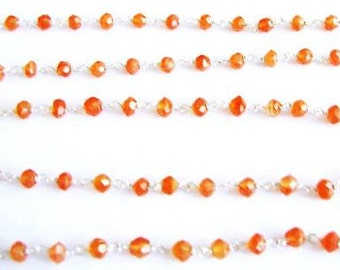 Orange Carnelian Rosary Chain Beads 1 Ft. Sterling Silver Wire Chain 3.5mm Semiprecious Faceted Gemstone Beads Take 10% Off Jewelry Supply