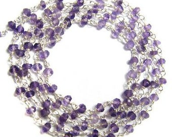 Purple Amethyst Rosary Chain 1 1/2' Sterling Silver Wire Chain 3.5mm Semiprecious Faceted Gemstone Beads Take 10% Off Jewelry Craft Supplies