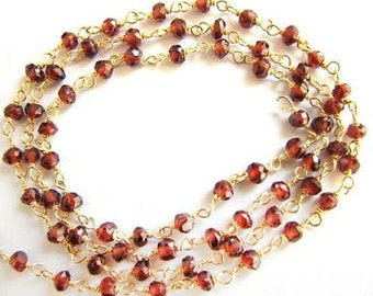 Garnet Rosary Chain Natural Red Garnet Beads 9 to 18 Inch Gold Vermeil Rosary Chain 3.5mm Semiprecious Gemstone Take 10% Off Jewelry Supply