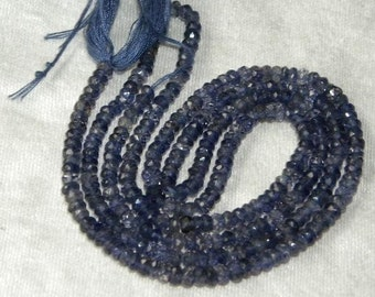 "Blue Iolite Beads 13"" Full Strand Drilled 3mm Rondelle Beads Semiprecious Faceted Gemstone Beads Take 10% Off Bridal Jewelry Craft Supplies"
