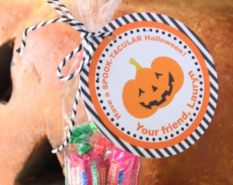 TRICK OR TREAT Halloween Treat Gift Tags or Stickers - Party Packs Available