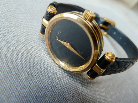 6e99f3a53aa Vintage Gucci Wrist Watch Ladies Gucci Watch Black and Gold GG Logo