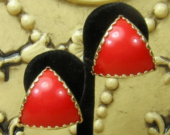 Mid Century Red Clip on Earrings