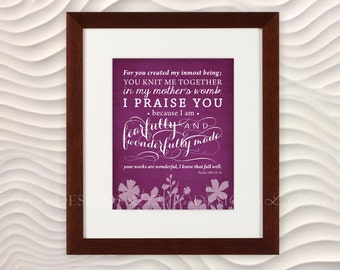 """Bible Verse """"Fearfully and Wonderfully Made"""" Nursery Art -  8x10 - Rose - DIY Printable - INSTANT DOWNLOAD"""