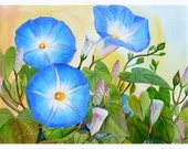 Morning Glories Painting Blue Flowers Framed Floral Art 17x21 Janet Zeh