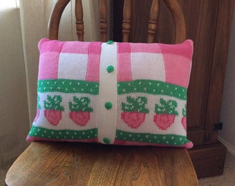 Strawberry Sweater Pillow