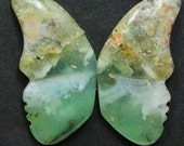 Green Jasper Butterflies - Pair of 2 Cabochons for Setting as Earrings, Jewelry Making, Wire Wrapping, Craft Supply, Collectibles