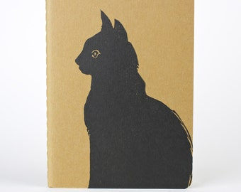 Dan the black cat. Cat in profile journal. Cat notebook. Mouse tag. Chat Noir. 黑貓  Kitty Cat, Kitten. Halloween