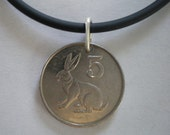 Rabbit Zimbabwe African Coin Pendant on Rubber Cord with Sterling Silver Clasp and  Soldered Jump Ring