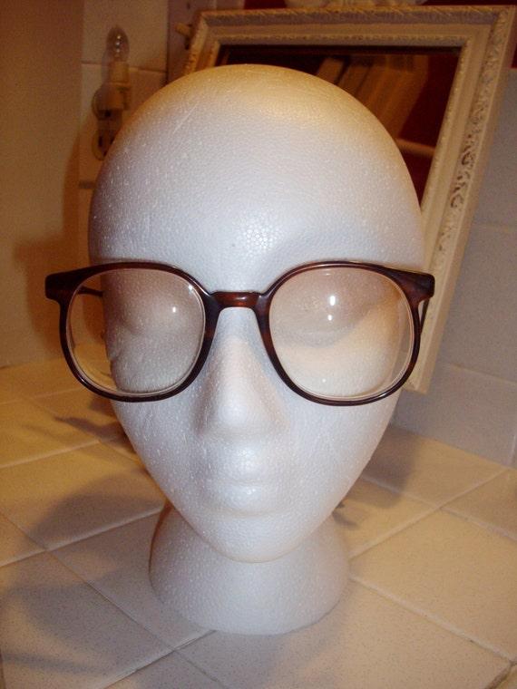 Vintage Eyeglasses Brown Tortoise Oversized 1980s Tinted Lenses