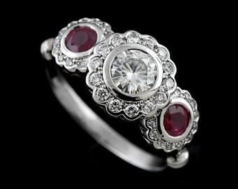 Edwardian Three Stone Engagement Ring, Ruby Moissanite Flower Halo Diamond Ring, Pave Bezel Set Ring, 14K White Gold Vintage Floral Ring