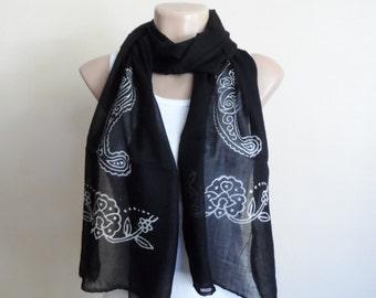 Black Scarf , Cotton Yemeni Scarf, Hand Stamped
