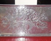 vintage FLORAL hammered aluminum serving tray or wall decor