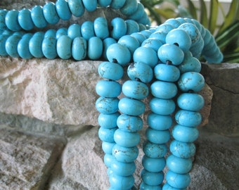 Blue Big Hole Bead Turquoise Howlite 12MM Rondelle Large Hole for Leather 10 Beads