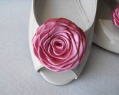 Handmade rose shoe clips in dusty rose pink