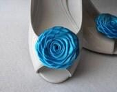 Handmade rose shoe clips in blue