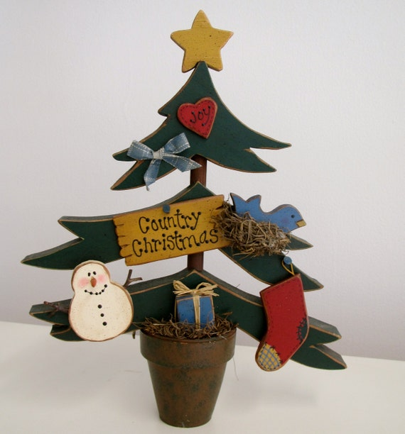 Painted wooden country christmas tree with by wordsofwisdomnh