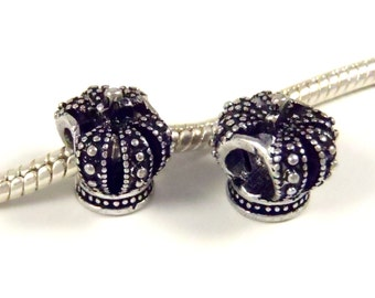 3 Beads - Queen King Crown Silver European Bead Charm  E0859