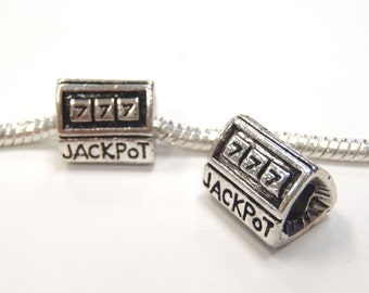 3 Beads - Jackpot Casino Silver European Bead Charm E0768
