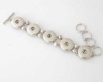 "1 Bracelet - 6""- 8"" - FITS 18MM Candy Snap Charm Jewelry Silver kb3334 CJ0090"