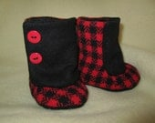 Red and black wool baby boots size 6-9 months fleece-lined soft soled  gender neutral  RTS