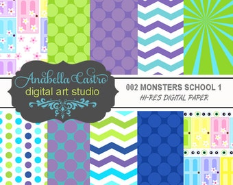 MONSTERS school digital paper 12x12 300 dpi for scrapbooking invitations and more.