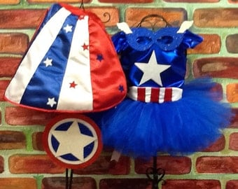 Captain America  tutu  sizes 6 - 10, captain america birthday, military welcome home outfit, avengers birthday