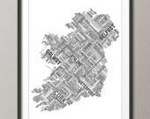 Ireland Eire City Text map, Art Print (321)