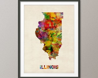 Illinois Watercolor Map USA, Art Print (388)