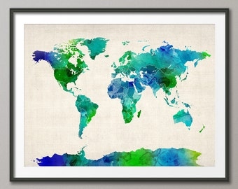 Watercolor Map of the World Map, Art Print (513)
