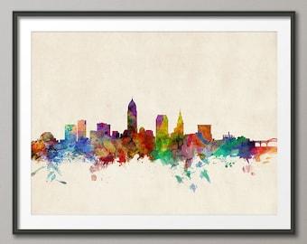 Cleveland Skyline, Cleveland Ohio Cityscape Art Print (156)