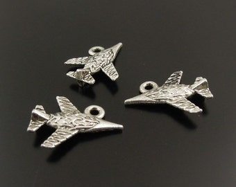 Airplane  Charm 5 3D Charms Antique Silver Tone 17 x 13 mm - ts273