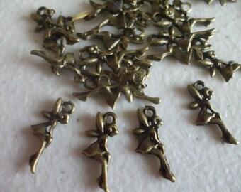 Fairy Charm Bulk 50 Charms Antique Bronze 18 x 8 mm U.S Seller -  bz317