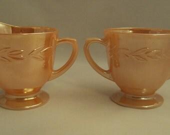 Vintage Anchor Hocking Glass Fire King Laurel Peach Lustre Creamer & Sugar Bowl Set
