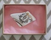 Ceramic Brooch: White/ Gold motif